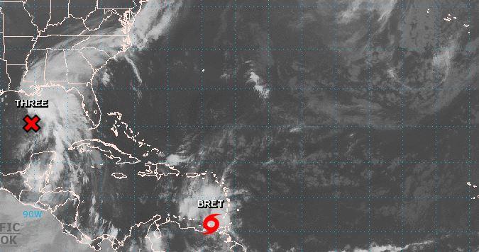 Mapa con ubicación de la tormenta Bret