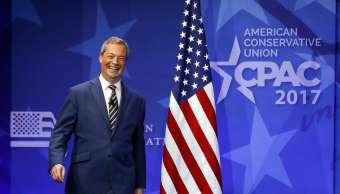 Nigel, Farage, exlíder del UKIP, durante un congreso conservador en EU