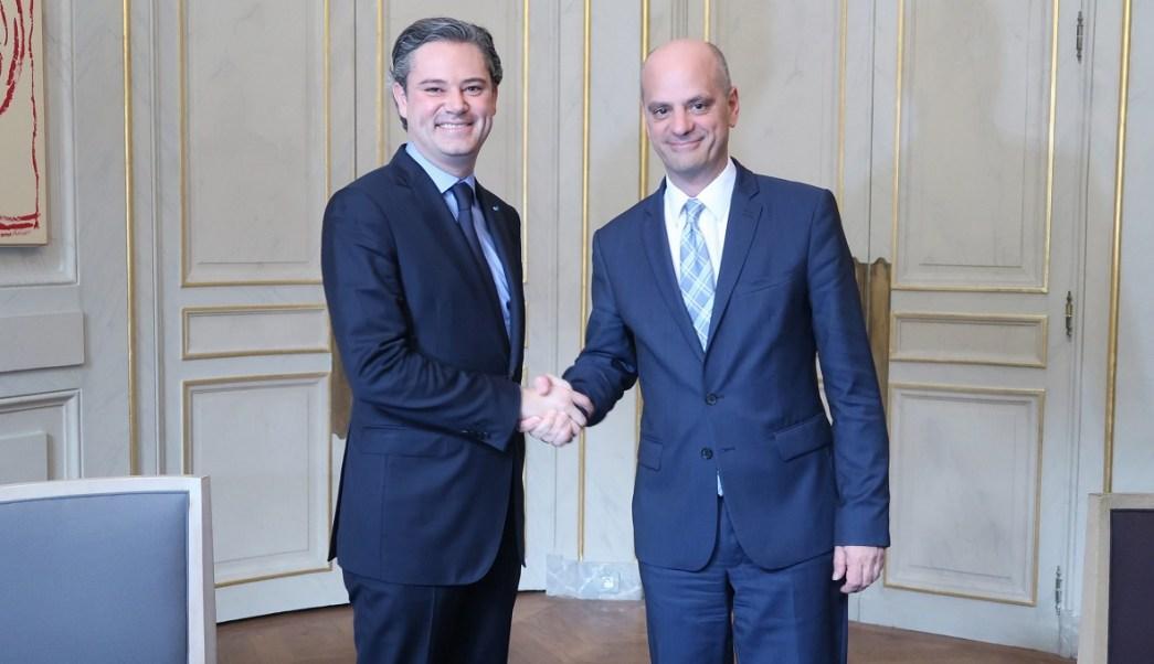 Aurelio Nuño se reunió con el ministro de Educación francés, Jean-Michel Blanquer. (Notimex)