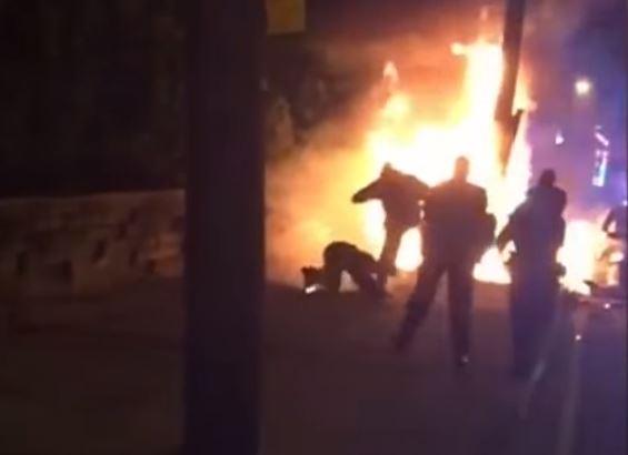 Policia, Estados unidos, Hombre hispano en llamas, Miguel feliz, Noticias, Noticieros
