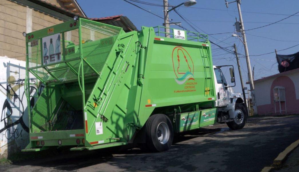Camion recolector de basura en la Magdalena contreras