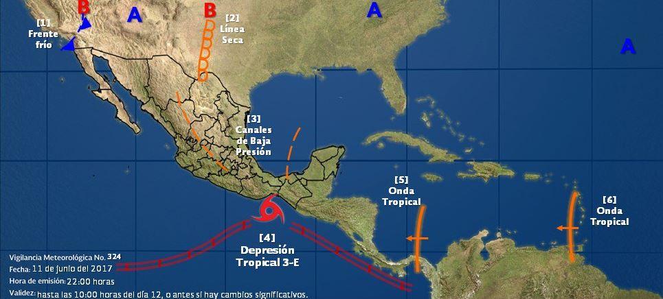 SMN pronostica lluvias de fuertes a intensas en al menos 17 estados