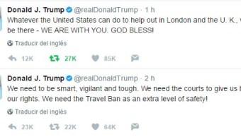 Trump pide nuevo veto migratorio durante ataques en Londres
