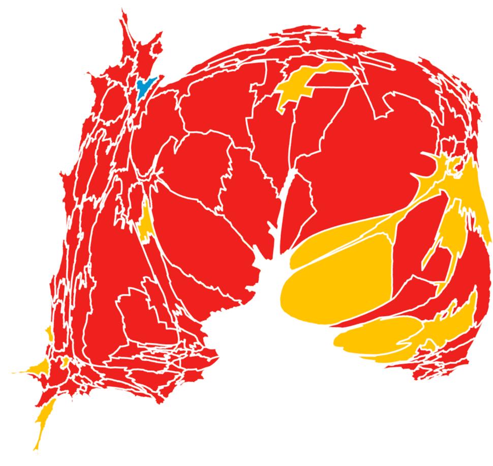 Mapa de las elecciones 2012. El rojo indica triunfo del PRI, el amarillo del PRD y el azul del PAN. Toca la imagen para verla más grande