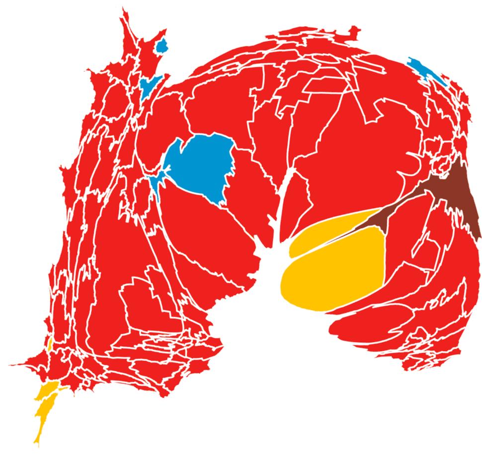 Mapa de las elecciones 2015. El rojo indica triunfo del PRI, el marrón de Morena, el amarillo del PRD y el azul del PAN. Toca la imagen para verla más grande