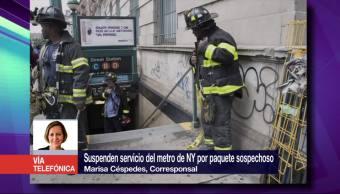 Suspenden servicio, metro de NY, paquete sospechoso