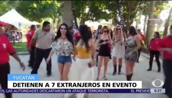 siete extranjeros, hacienda de Mérida, trabajar sin permiso, evento de Playboy