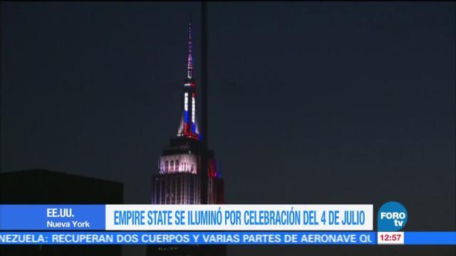 celebración, 4 de julio, emblemático rascacielos, Empire State