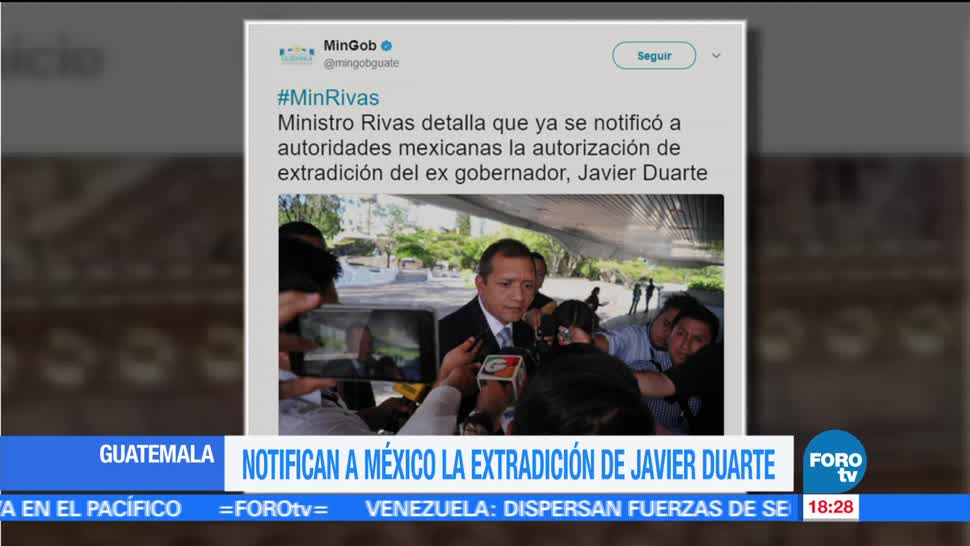 noticias, forotv, Guatemala, notifica a México, extradición, Javier Duarte