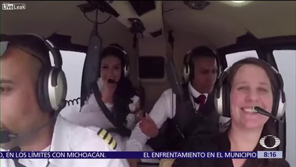 Difunden el video, novia a su boda, caída de helicóptero