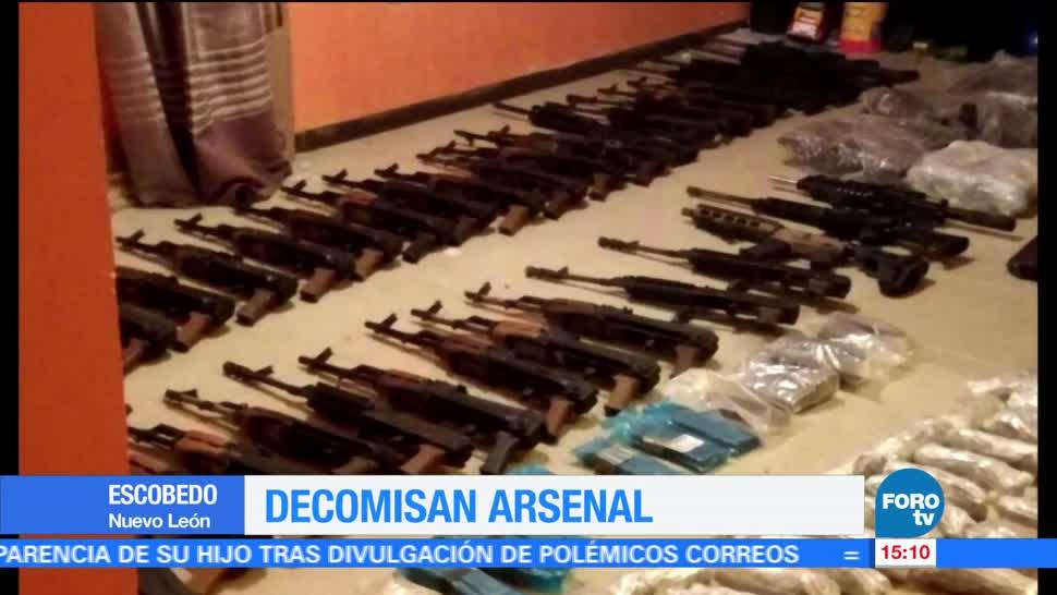 Decomisan, arsenal en Escobedo, madrugada, NL