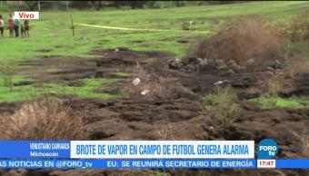 Grieta, brote de vapor, alarma, Michoacán