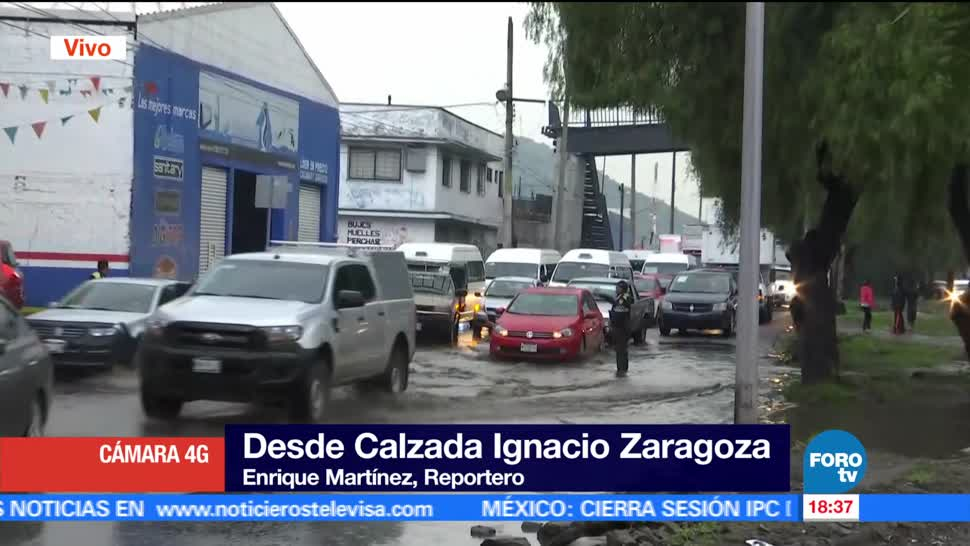 noticias, forotv, registran, inundaciones, calzada Ignacio Zaragoza, lluvias