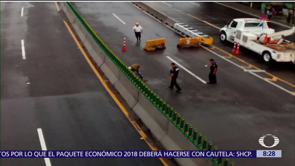 noticias, televisa, Por socavón, cierran, paso express, autopista México-Cuernavaca