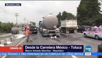 Tráiler choca, camión, México-Toluca