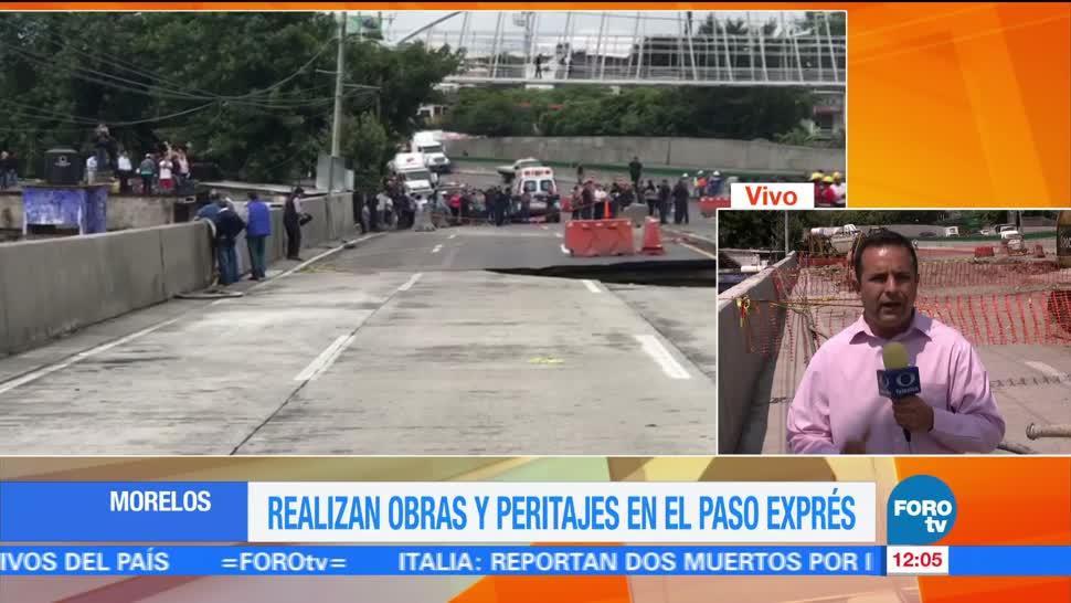 noticias, forotv,Filtran, concreto hidráulico, socavón, Paso Express de Cuernavaca
