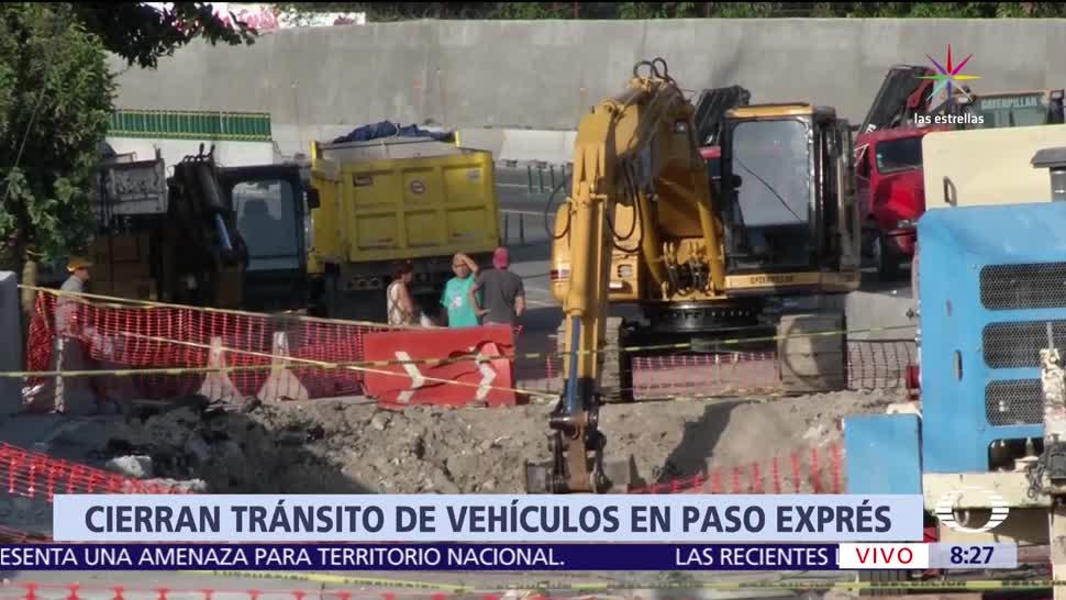 noticias, televisa, Cierran, tránsito vehicular, Paso Express, socavón
