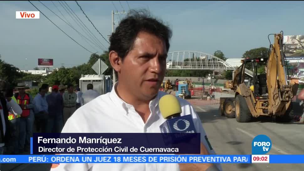 noticias, televisa, Realizan trabajos, reparar socavón, Paso Express, Cuernavaca