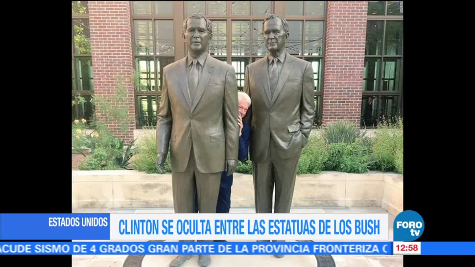 noticias, forotv, Bill Clinton, se esconde, estatuas, George Bush padre e hijo