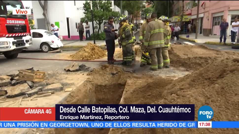 registra fuga, gas natural, calles, delegación Cuauhtémoc