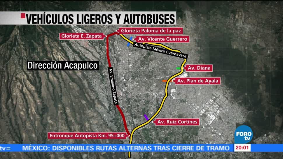 Cierre total, Paso Express, Cuernavaca, rutas alternas, alternativas, viales