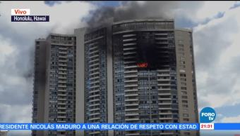 Incendio, edificio, apartamentos, Hawaii, estados unidos, honolulu