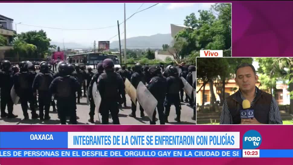 Integrantes, CNTE, enfrentan, policías