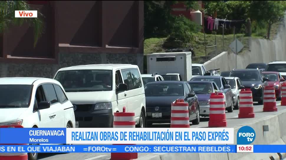 Paso Express de Cuernavaca, Siguen obras, rehabilitación, afecta la circulación vehicular