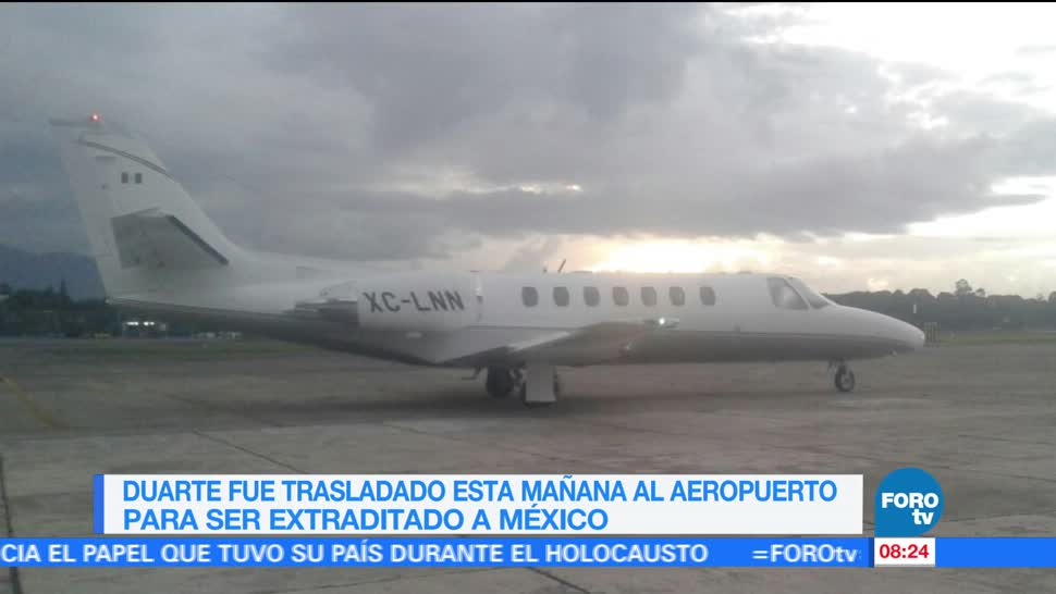 Javier Duarte, exgobernador de Veracruz, hangar de la Fuerza Aérea, Guatemala