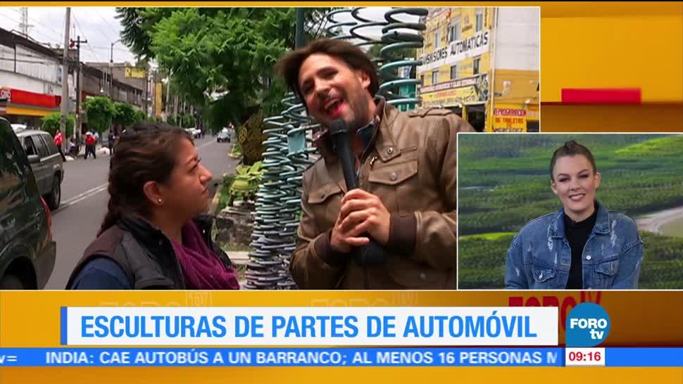Ulises de la Torre, reportaje, exposición de esculturas, piezas de coches