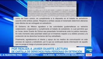 exgobernador de Veracruz, Javier Duarte, PGR, lectura de cartilla