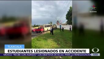 Apetatitlán, Tlaxcala, autobús con estudiantes, Colegio de Bachilleres, heridos