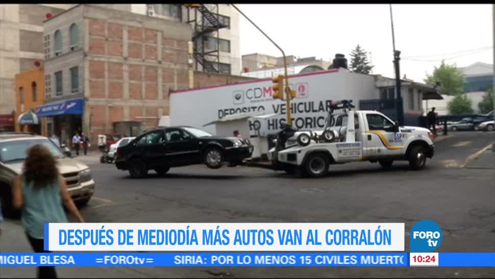 vehículos, llevados al corralón, Ciudad de México, 12:00 horas