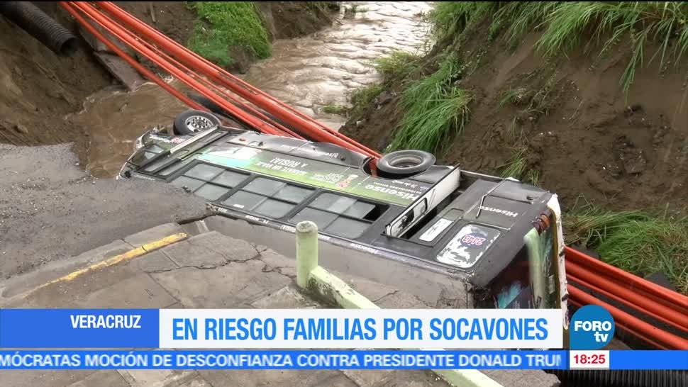 Familias, Veracruz, riesgo, socavones, afectaciones lluvias, deslizamiento tierra