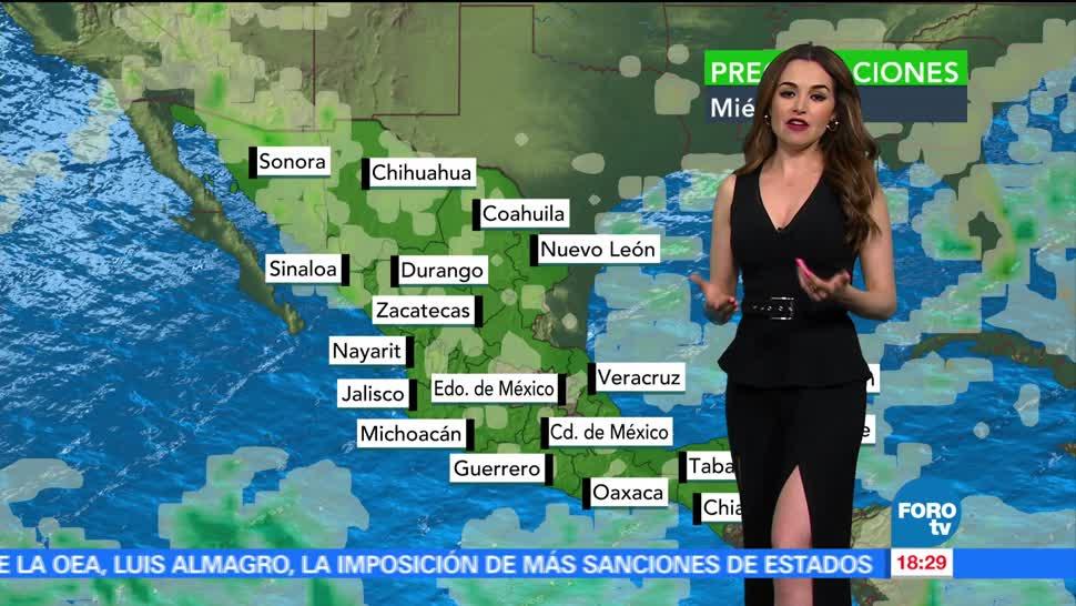 El Clima, condiciones climatologicas, Mayte Carranco, jueves, lluvias, temperaturas