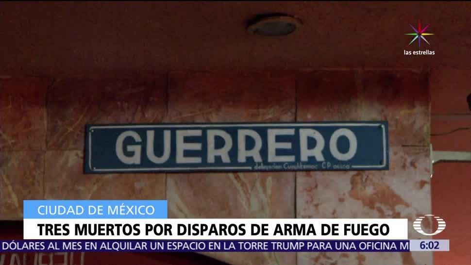 Tres muertos, disparos de arma de fuego, CDMX, Ciudad de México