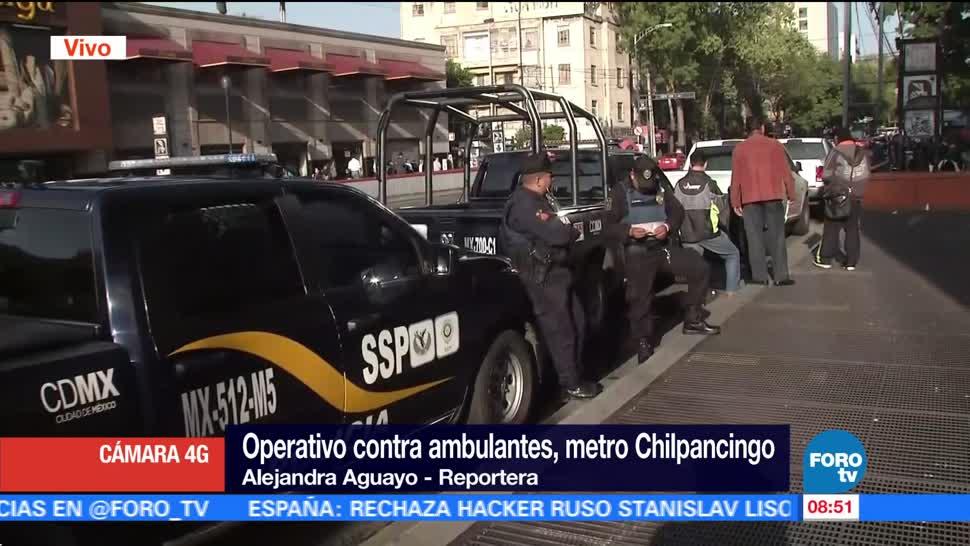 Operativo, contra ambulantes, Metro Chilpancingo, Elementos de la Secretaría de Seguridad Pública