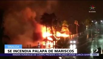Incendio consume, restaurante de mariscos, Mazatlán, malecón
