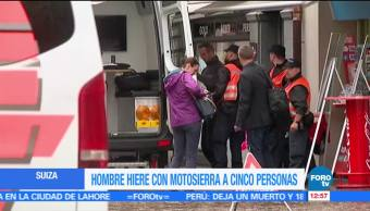 Hombre ataca, motosierra, cinco personas, Suiza