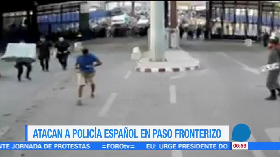 Atacan, policía español, paso, fronterizo