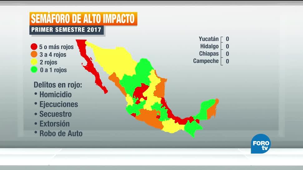 Mapa, delitos, México, Semáforo