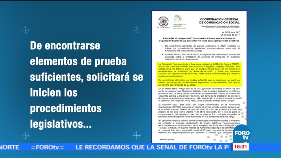 Televisa News ALDF Delegado Tlahuac Seguridad