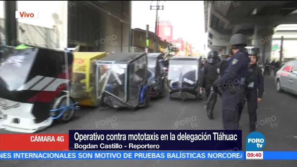 Operativo, mototaxis, delegación, Tláhuac