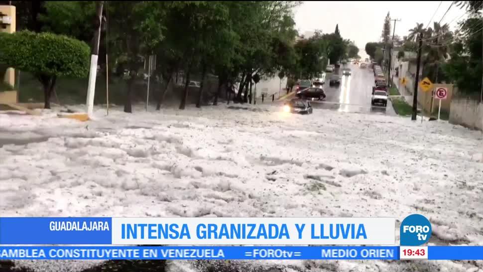 Intensa granizada se registra Guadalajara Jalisco