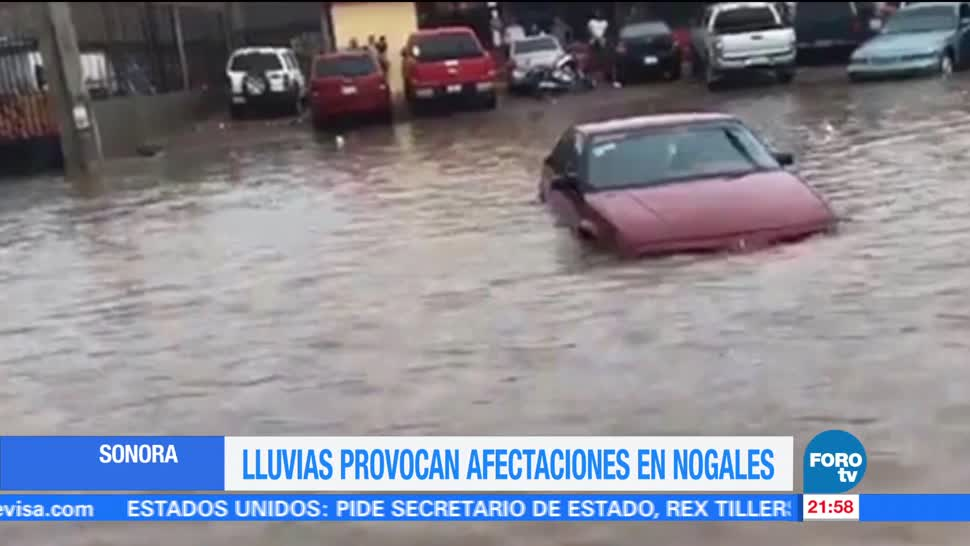 Intensa lluvia causa afectaciones Nogales, Sonora