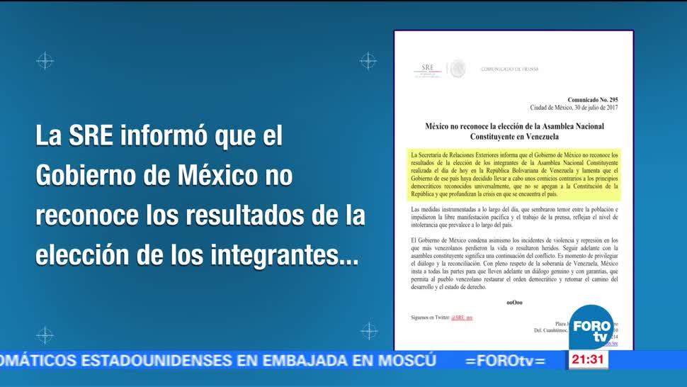 México no reconoce elección Constituyente Venezuela