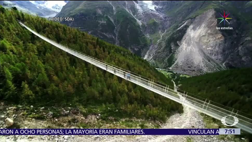 Inauguran, puente peatonal colgante, más largo, mundo