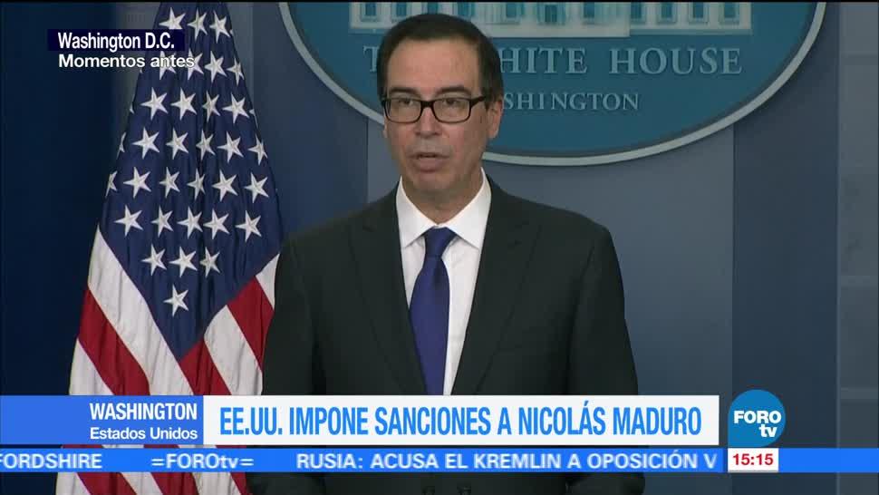 Eu Impone Sanciones Nicolás Maduro Secretario Del Tesoro De Estados Unidos Steven Mnuchin
