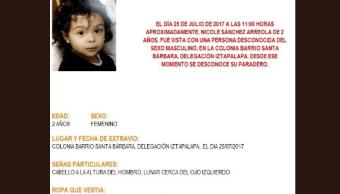 Alerta Amber activada por Nicole Sánchez Arreola