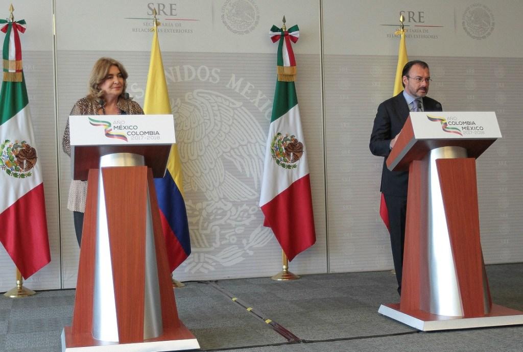 Patricia Cárdenas y Luis Videgaray durante la instalación del año dual México- Colombia. (Notimex)